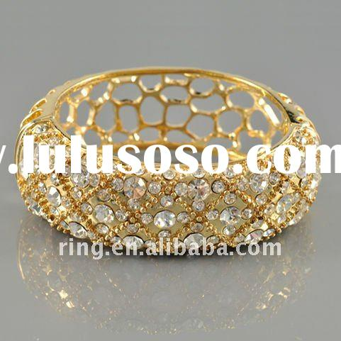 2012 latest fashion bridal gold plated crystal bangles