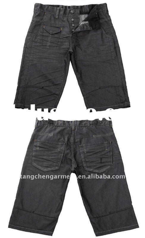 2012 new design fashion men denim jeans short with coating fabric