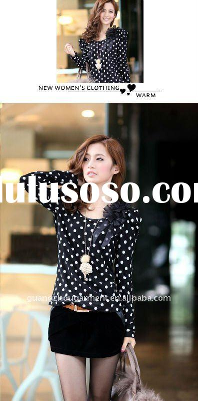 2012 new style long sleeve blouse/t shirt for lady