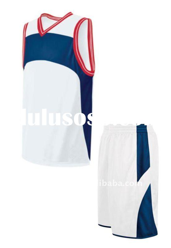 2013 Customized high quality white/navy of Basketball full athletic fit game jersey with red rib on