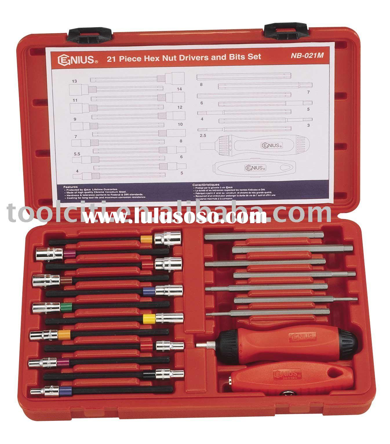 21 Pieces Metric Hex Nut Driver & Bit Set