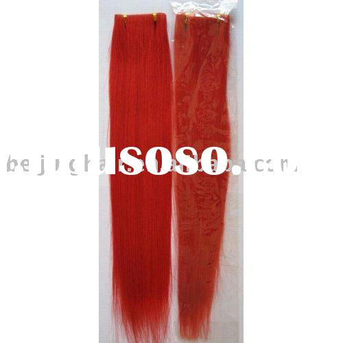24 inch red 100% human remy hair extension/hair weft/hair weaving silky straight