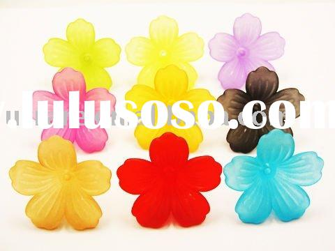 27*45mm Acrylic Flower Shape Frosted Mixed Color Beads For DIY Jewelry Making