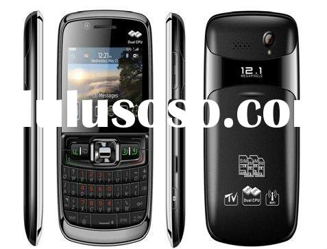 2.3 inch dual CPU four sim card WIFI TV JAVA touch screen mobile phone,Qwerty keyboard mobile phone