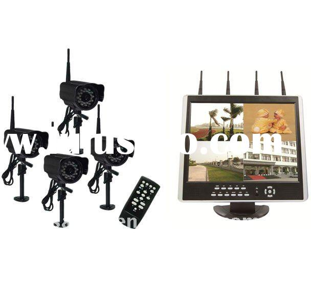 2.4GHz digital wireless Camera 4 CH H.264 15-Inch LCD-DVR Security System