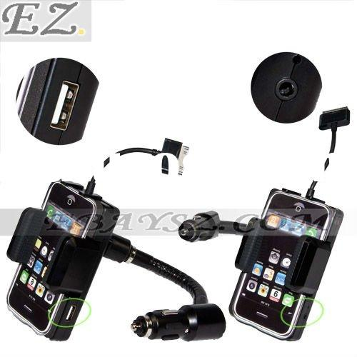 360 Degrees car kit FM Transmitter + Car Charger + Car Holder for iphone ipod &LF-0238