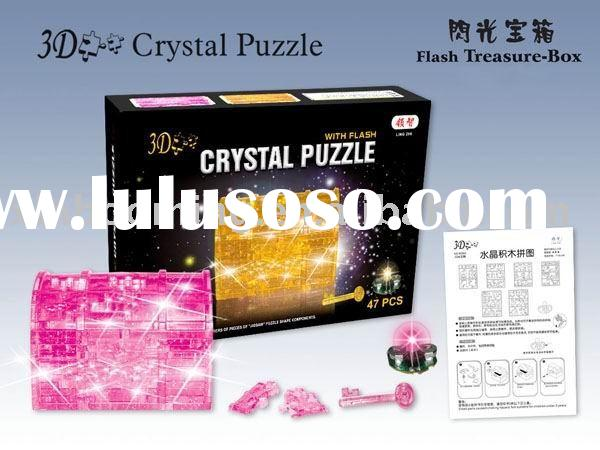 3D Crystal Puzzle.Flashing Treasure -box 3D Crystal Puzzle. Plastic Treasure Box