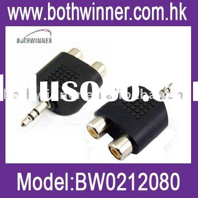 3.5mm audio jack out plug to 2 RCA splitter adapter