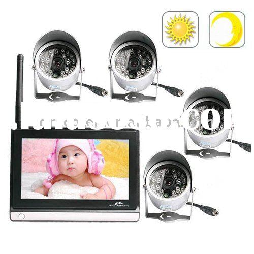 "4PCS 2.4G Wireless 24LED Security Cmos Night Version Camera + 7"" TFT LCD Baby Monitor BMIRN724"