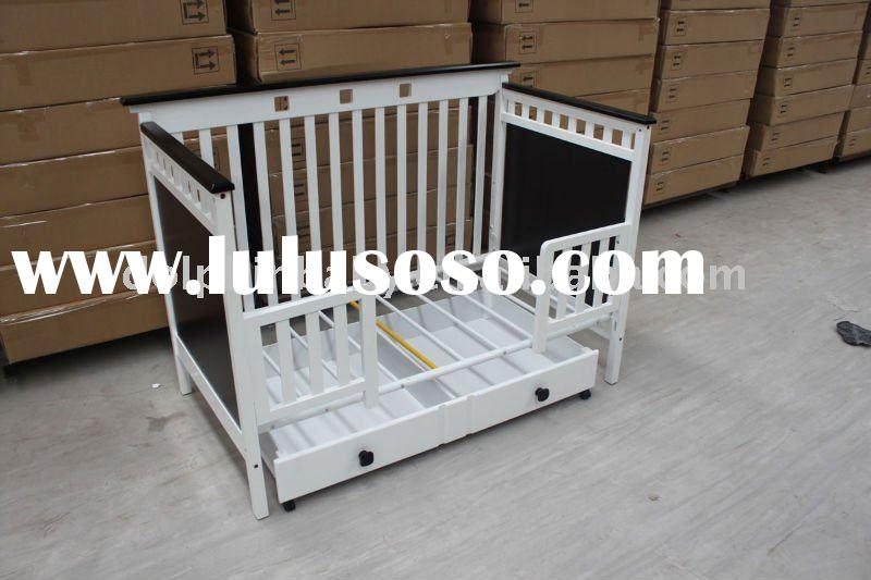 4-in-1 Convertible, modern baby crib with the drawer, hanging baby crib, wooden baby cot