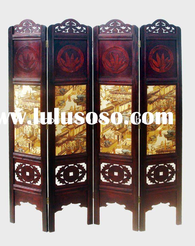 4 panel carved wood room dividers,room divider screens