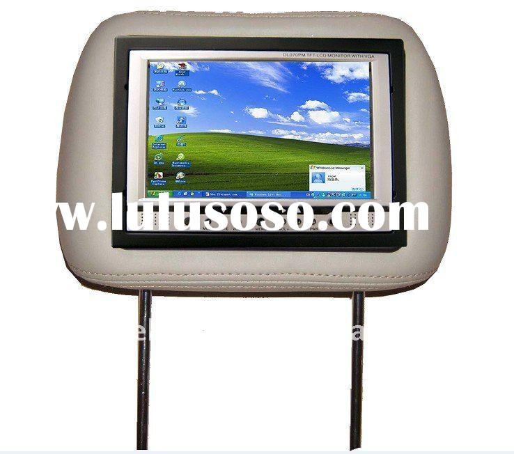 "7"" car touch screen lcd Headrest monitor with Automatic Rearview/Wireless Remote/LED car displa"