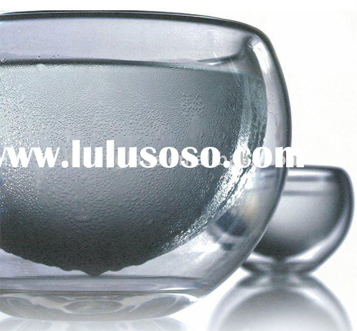 80 MM mouth blown double wall glass cup