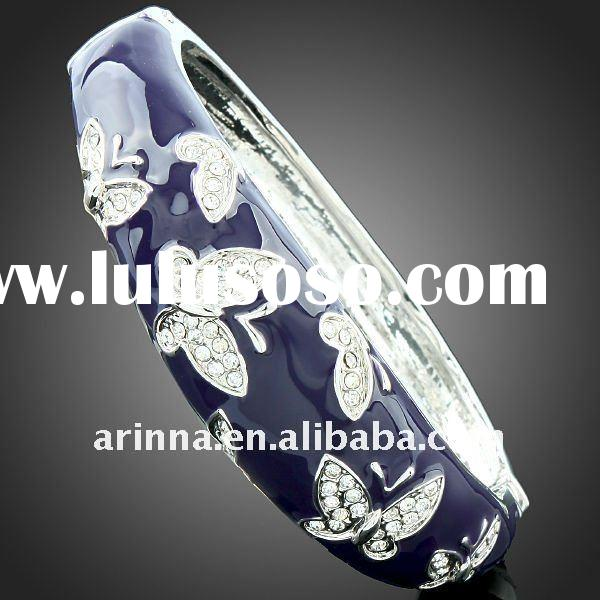 ARINNA Elegant Alloy Fashion Enamel Crystal Butterfly Bangle Cuff Bracelet Jewelry B0999