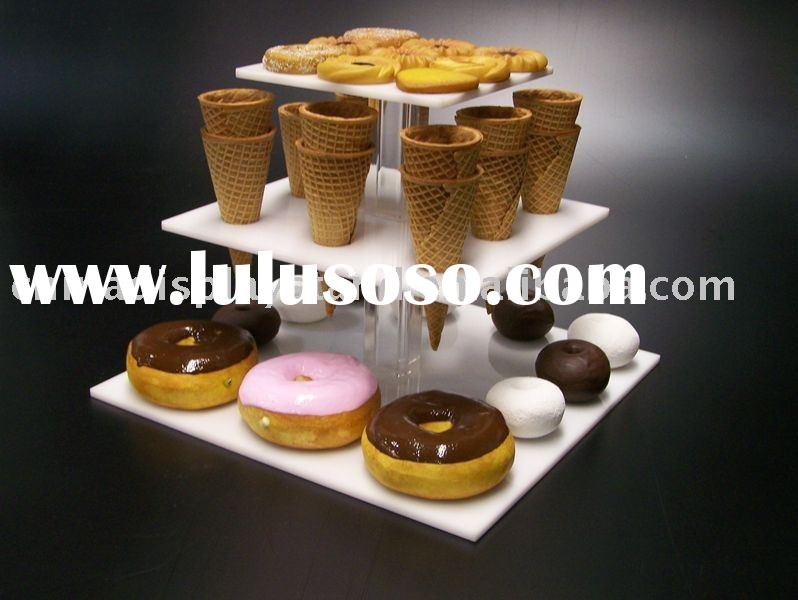 Acrylic dessert stand,acrylic pastry display, acrylic bakery display, acrylic tiered display
