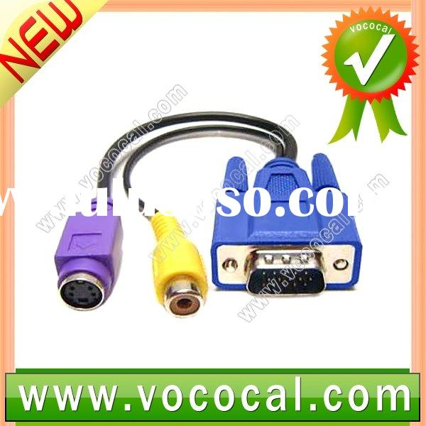 Adapter for VGA D-Sub to S-Video RCA TV Cable PC