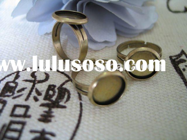 Adjustable Retro Setting Ring Blank Finding round base 16x18mm