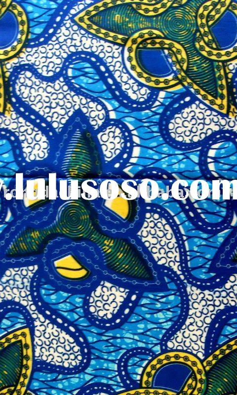 African Cotton Real Wax Printed Fabric Indian Blue