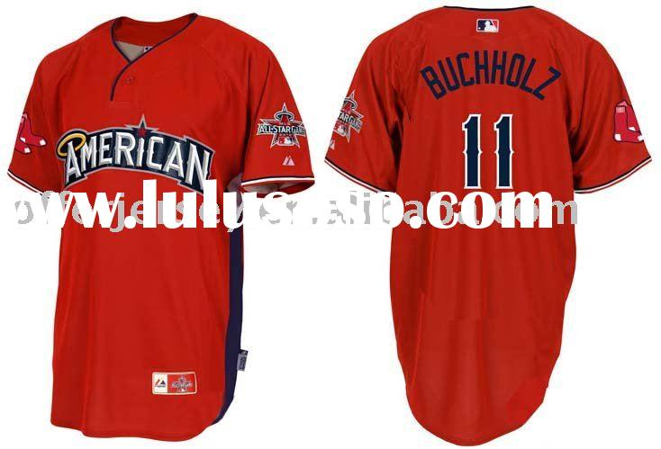 American 2010 All Star Boston Red Sox Jersey #11 Clay Buchholz Wholesale RED Jerseys Size 44-56+Free