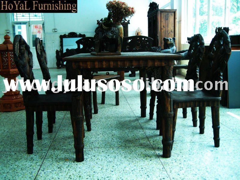 Antique Furniture-Black Forest Carvings Dining Table&Chair