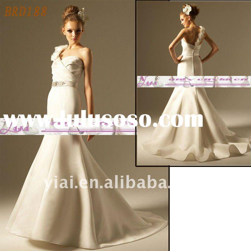 BRD188 Factory Outlet 2012 Beautiful Handmade Flower One Shoulder Fashion Mermaid Wedding Dress