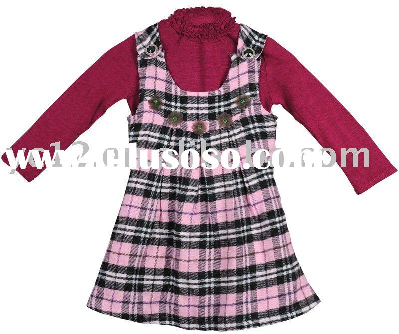 Baby Girl Clothing Sets: Plain Woolen Lace High Collar T-shirt plus Cotton Plaid Brooch Dress
