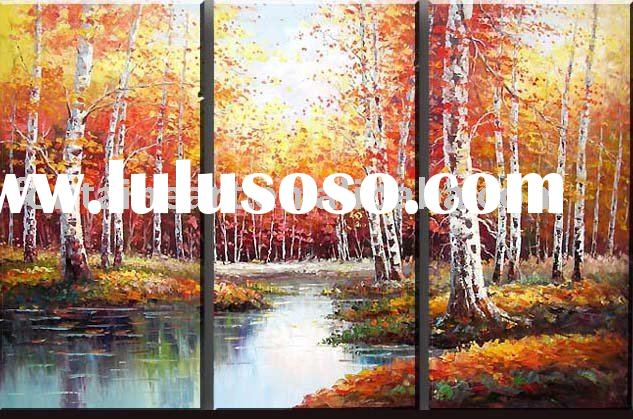 Beautiful Group Landscape Autumn Birch Trees Oil Painting (3 panels)