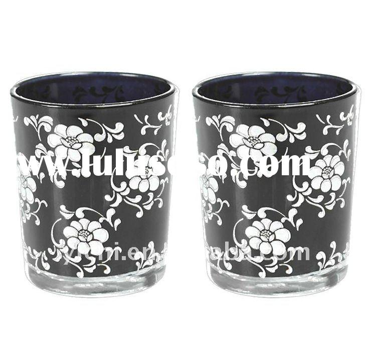 Black Glass Votive Candle Holders