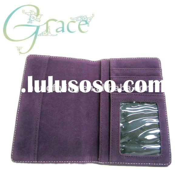 Black and purple Leather passport wallet with card holder for travel passport