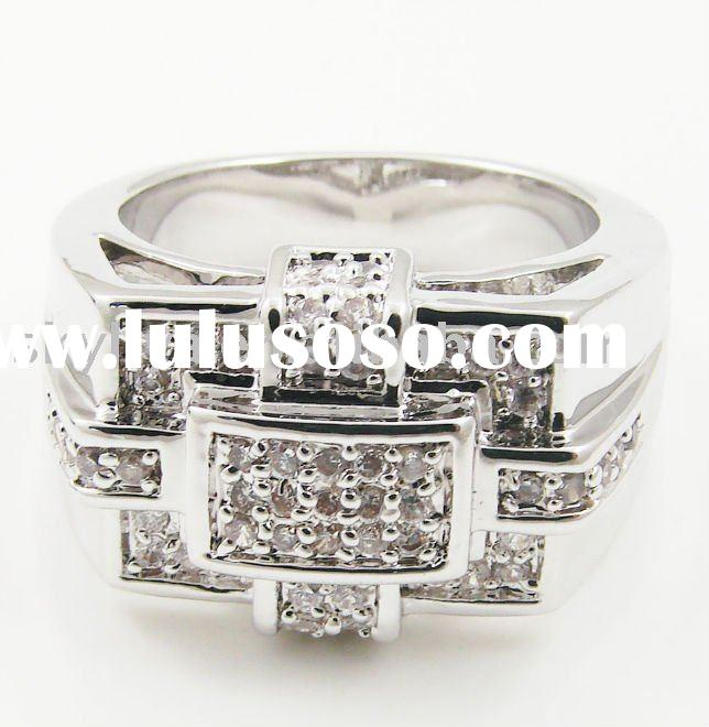Bling bling ring setting with cubic zirconia rhodium plated (SKR1005)