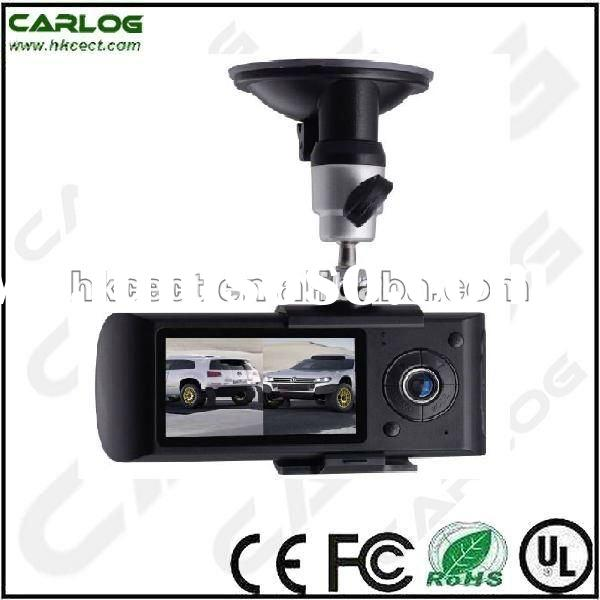 Built-in dual camera car video recorder with GPS & G-sensor