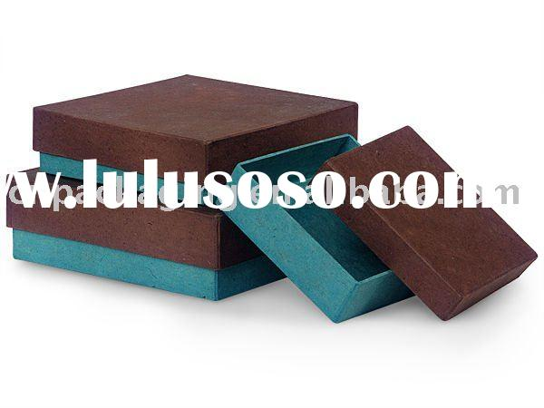 CHOCOLATE & AQUA Nested Box 3 Pc Square Gift Boxes