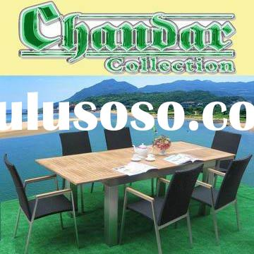 CH-T049 brushed aluminum frame garden furniture table and chair