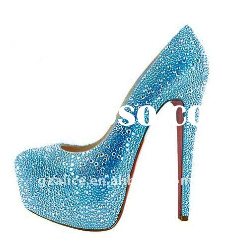 CL079 New design very beautiful high-heel lady dress shoes,crystal red sole fashion shoes,sky blue