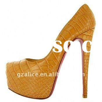 CL083 New design very beautiful high-heel lady dress shoes,stone grain leather red sole fashion shoe