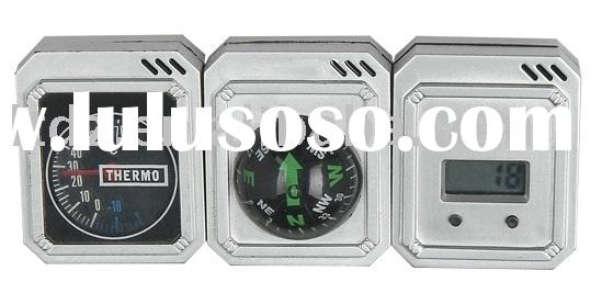 Car compass with thermometer and digital clock