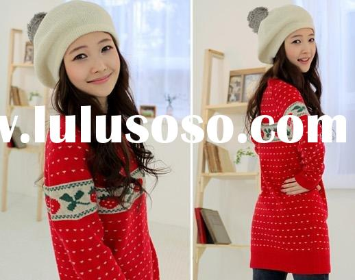 Casual round -neck strawberry pattern long sleeve knitting sweater