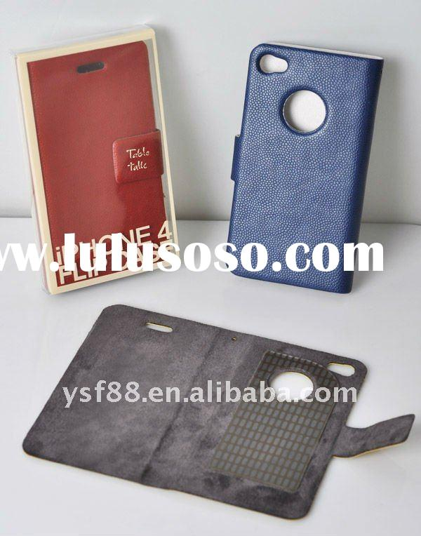 Cell phone case leather case for iphone 4G with hole YSF02