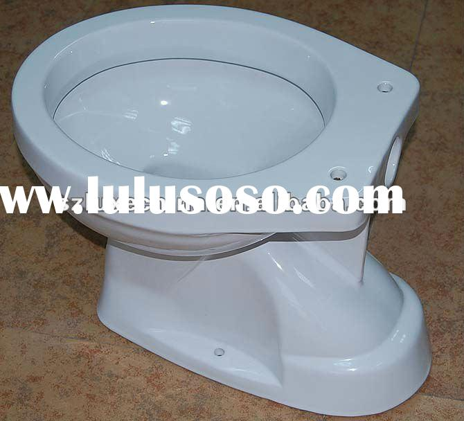 Ceramic toilet bowl with wall plastic tank