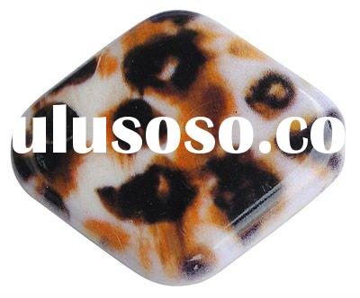 Colorful Acrylic Beads, Printed, Faceted, Rhombus, Peru, Size: about 29x25x7mm, hole: 3mm(MACR-XQ002