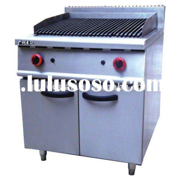 Commercial Gas Lava rock Grill with Cabinet