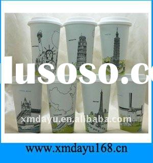 Custom Design Ceramic Travel Coffee mugs with Silicone Lid