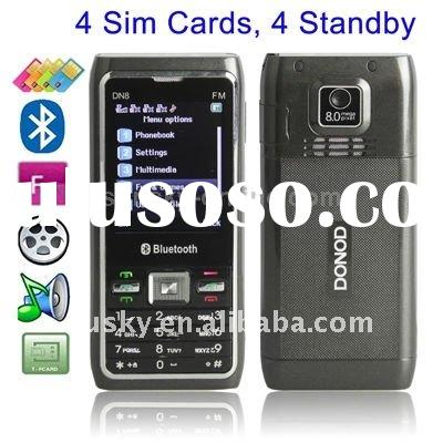 DN8, 4 Sim cards 4 standby, Bluetooth & FM & Flashlight function Mobile Phone, Dual band, Ne