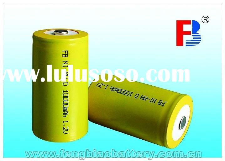 D Size 10000 mAh Flat Top rechargeable NiMH battery with CE UL RoHS certificates