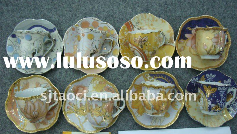 Decorative full decal porcelain coffee cup and saucer,antiques ceramic plates tableware