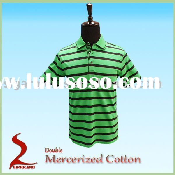 Double Mercerized mens short sleeve striped polo shirt