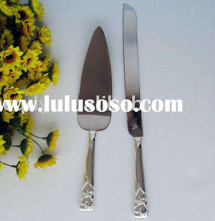 Double heart silver knife sets/ wedding supply/wedding cake server/wedding cake accessory/wedding fa