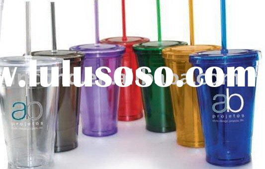 Double wall plastic cup with lid and straw LD-C201