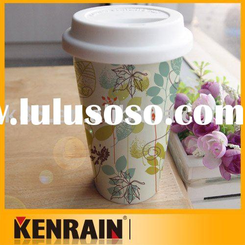 Double wall porcelain coffee mug with silicon lid/Ceramic coffee cup with silicon lid