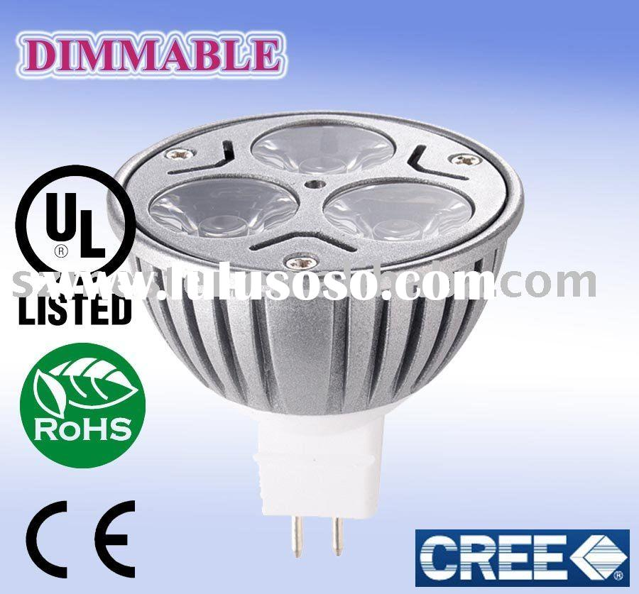 E332478, UL/cUL listed Dimmable LED MR16 light 3*3w Cree XR-E chips